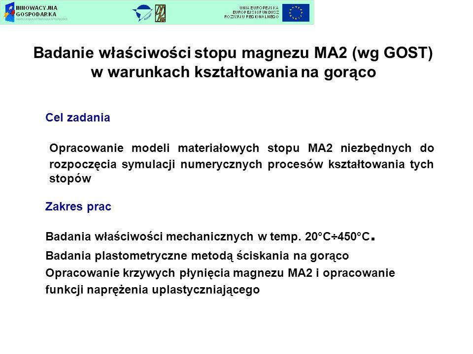 Badanie właściwości stopu magnezu MA2 (wg GOST) w warunkach kształtowania na gorąco Cel zadania Opracowanie modeli materiałowych stopu MA2 niezbędnych