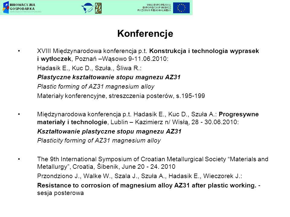 Konferencje XVIII Międzynarodowa konferencja p.t. Konstrukcja i technologia wyprasek i wytłoczek, Poznań –Wąsowo 9-11.06.2010: Hadasik E., Kuc D., Szu