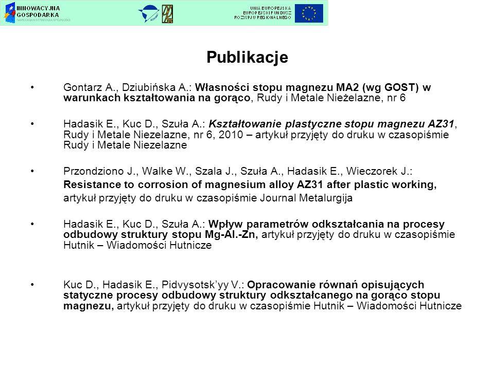 Publikacje Gontarz A., Dziubińska A.: Własności stopu magnezu MA2 (wg GOST) w warunkach kształtowania na gorąco, Rudy i Metale Nieżelazne, nr 6 Hadasi