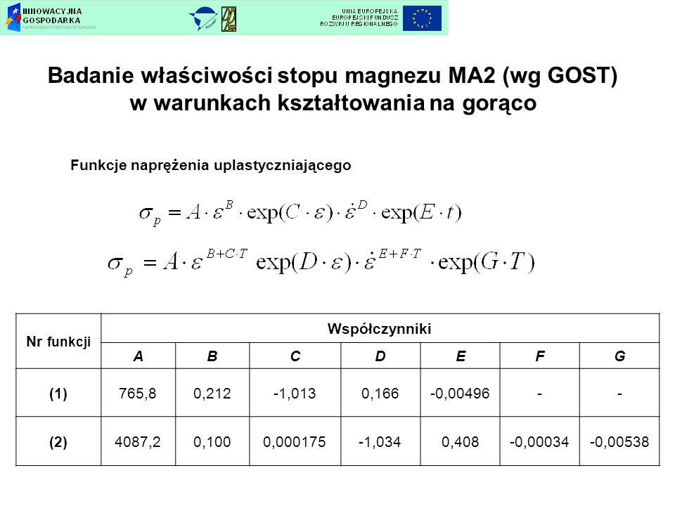 Funkcje naprężenia uplastyczniającego Nr funkcji Współczynniki ABCDEFG (1)765,80,212-1,0130,166-0,00496-- (2)4087,20,1000,000175-1,0340,408-0,00034-0,