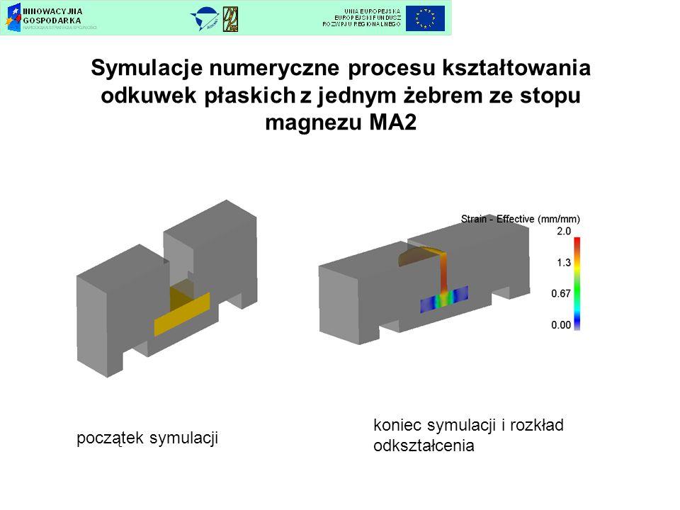 Symulacje numeryczne procesu kształtowania odkuwek płaskich z jednym żebrem ze stopu magnezu MA2 początek symulacji koniec symulacji i rozkład odkszta