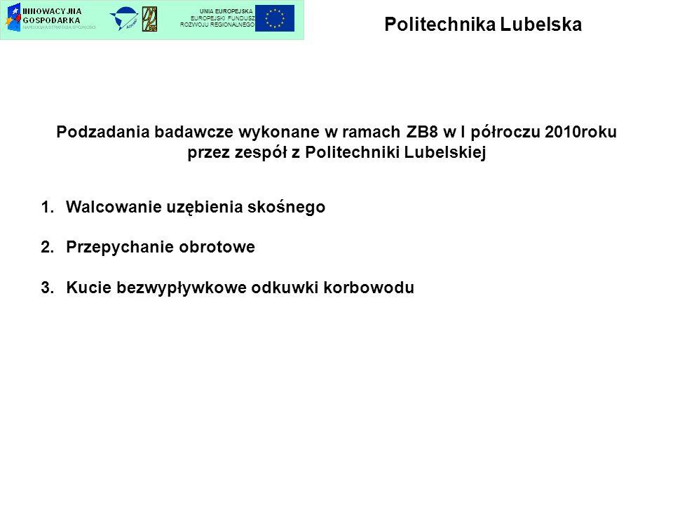 Politechnika Lubelska UNIA EUROPEJSKA EUROPEJSKI FUNDUSZ ROZWOJU REGIONALNEGO Podzadania badawcze wykonane w ramach ZB8 w I półroczu 2010roku przez ze