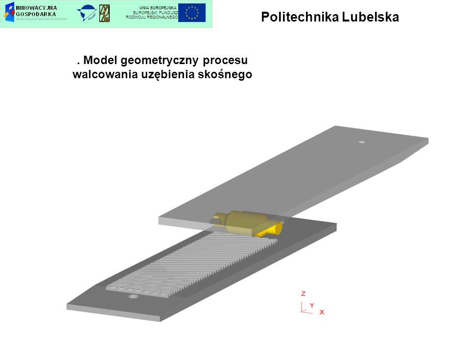 Politechnika Lubelska UNIA EUROPEJSKA EUROPEJSKI FUNDUSZ ROZWOJU REGIONALNEGO. Model geometryczny procesu walcowania uzębienia skośnego