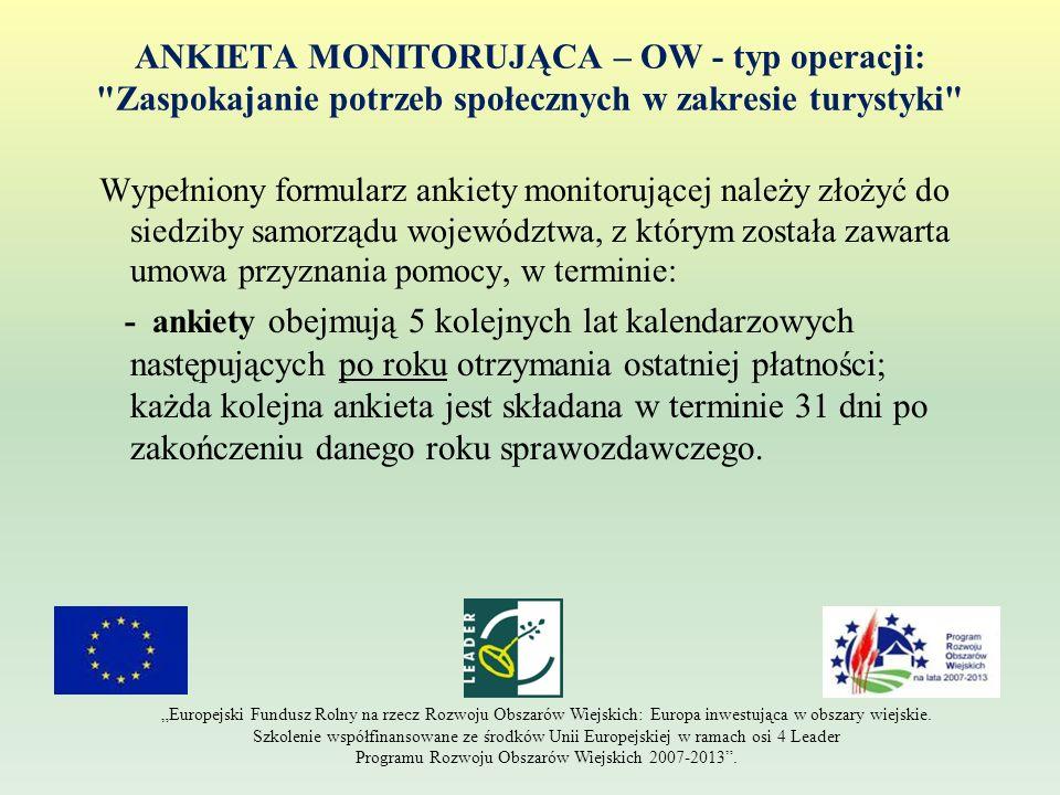 ANKIETA MONITORUJĄCA – OW - typ operacji:
