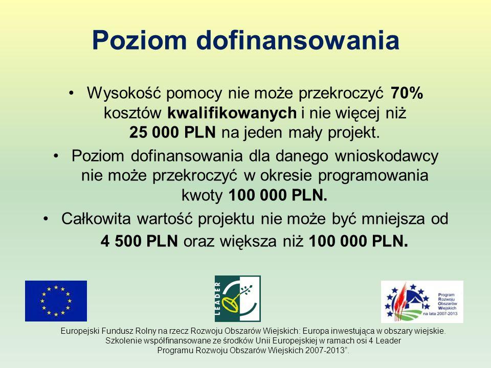 Poziom dofinansowania Wysokość pomocy nie może przekroczyć 70% kosztów kwalifikowanych i nie więcej niż 25 000 PLN na jeden mały projekt. Poziom dofin