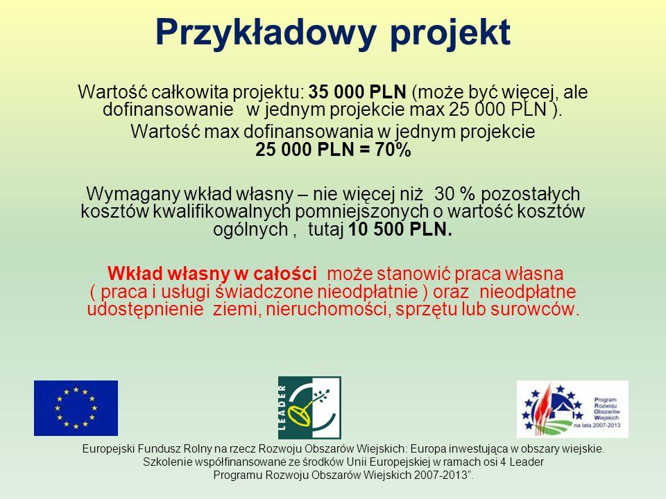 Przykładowy projekt Wartość całkowita projektu: 35 000 PLN (może być więcej, ale dofinansowanie w jednym projekcie max 25 000 PLN ). Wartość max dofin