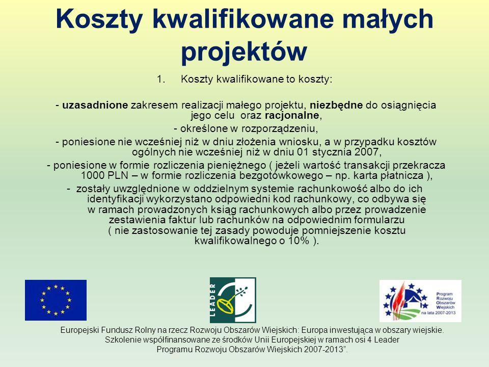 Koszty kwalifikowane Małych projektów (c.d.) 2.