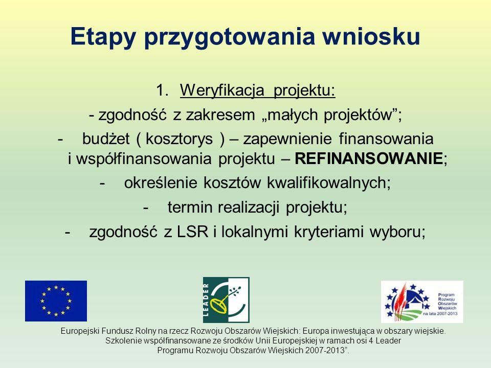 Etapy przygotowania wniosku 1.Weryfikacja projektu: - zgodność z zakresem małych projektów; -budżet ( kosztorys ) – zapewnienie finansowania i współfi