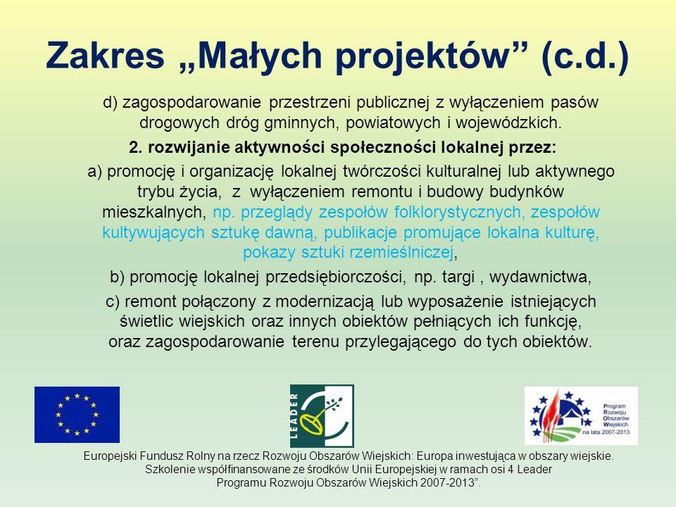Zakres Małych projektów (c.d.) d) zagospodarowanie przestrzeni publicznej z wyłączeniem pasów drogowych dróg gminnych, powiatowych i wojewódzkich. 2.