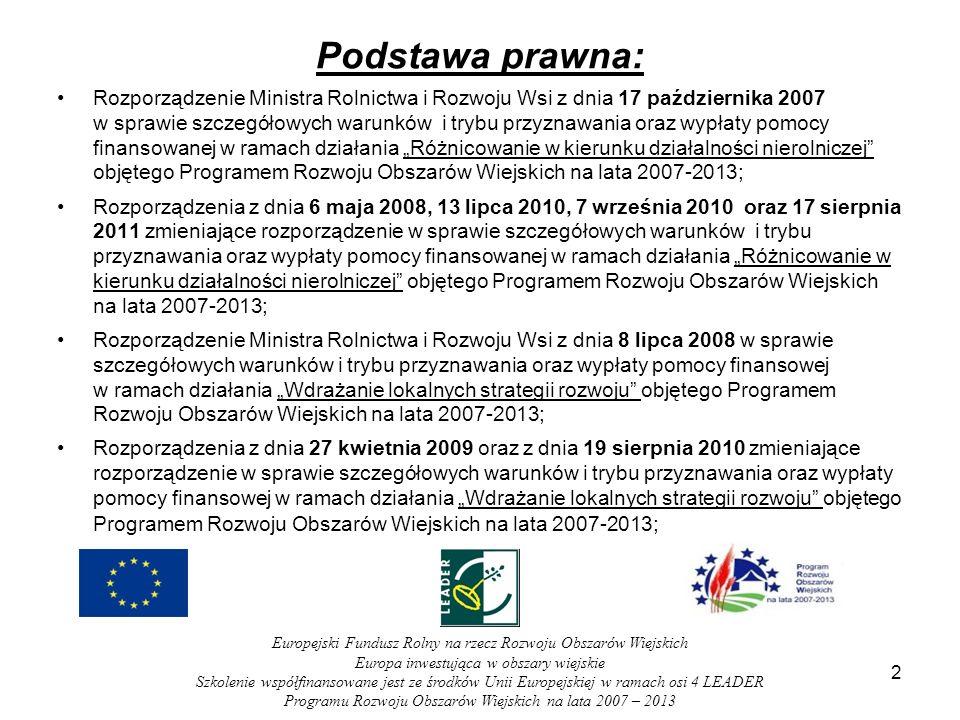 Podstawa prawna: Rozporządzenie Ministra Rolnictwa i Rozwoju Wsi z dnia 17 października 2007 w sprawie szczegółowych warunków i trybu przyznawania oraz wypłaty pomocy finansowanej w ramach działania Różnicowanie w kierunku działalności nierolniczej objętego Programem Rozwoju Obszarów Wiejskich na lata 2007-2013; Rozporządzenia z dnia 6 maja 2008, 13 lipca 2010, 7 września 2010 oraz 17 sierpnia 2011 zmieniające rozporządzenie w sprawie szczegółowych warunków i trybu przyznawania oraz wypłaty pomocy finansowanej w ramach działania Różnicowanie w kierunku działalności nierolniczej objętego Programem Rozwoju Obszarów Wiejskich na lata 2007-2013; Rozporządzenie Ministra Rolnictwa i Rozwoju Wsi z dnia 8 lipca 2008 w sprawie szczegółowych warunków i trybu przyznawania oraz wypłaty pomocy finansowej w ramach działania Wdrażanie lokalnych strategii rozwoju objętego Programem Rozwoju Obszarów Wiejskich na lata 2007-2013; Rozporządzenia z dnia 27 kwietnia 2009 oraz z dnia 19 sierpnia 2010 zmieniające rozporządzenie w sprawie szczegółowych warunków i trybu przyznawania oraz wypłaty pomocy finansowej w ramach działania Wdrażanie lokalnych strategii rozwoju objętego Programem Rozwoju Obszarów Wiejskich na lata 2007-2013 ; 2 Europejski Fundusz Rolny na rzecz Rozwoju Obszarów Wiejskich Europa inwestująca w obszary wiejskie Szkolenie współfinansowane jest ze środków Unii Europejskiej w ramach osi 4 LEADER Programu Rozwoju Obszarów Wiejskich na lata 2007 – 2013
