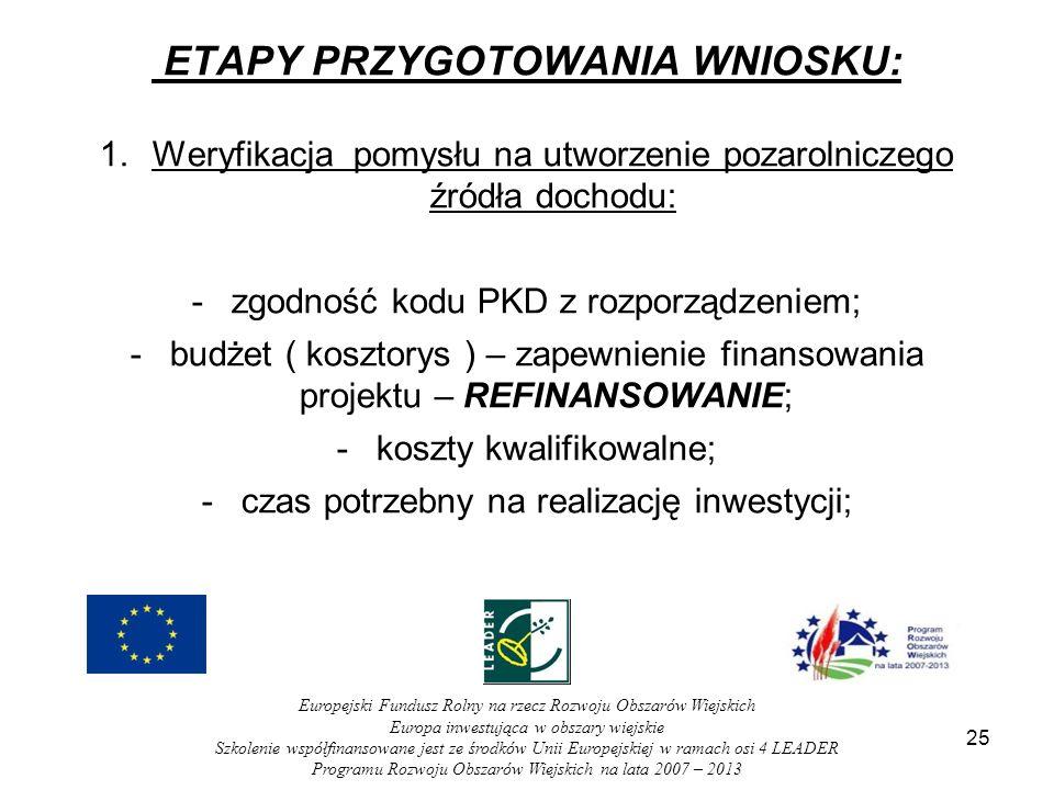 ETAPY PRZYGOTOWANIA WNIOSKU: 1.Weryfikacja pomysłu na utworzenie pozarolniczego źródła dochodu: -zgodność kodu PKD z rozporządzeniem; -budżet ( kosztorys ) – zapewnienie finansowania projektu – REFINANSOWANIE; -koszty kwalifikowalne; -czas potrzebny na realizację inwestycji; 25 Europejski Fundusz Rolny na rzecz Rozwoju Obszarów Wiejskich Europa inwestująca w obszary wiejskie Szkolenie współfinansowane jest ze środków Unii Europejskiej w ramach osi 4 LEADER Programu Rozwoju Obszarów Wiejskich na lata 2007 – 2013