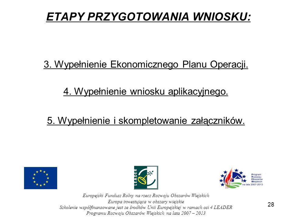 28 ETAPY PRZYGOTOWANIA WNIOSKU: 3. Wypełnienie Ekonomicznego Planu Operacji.