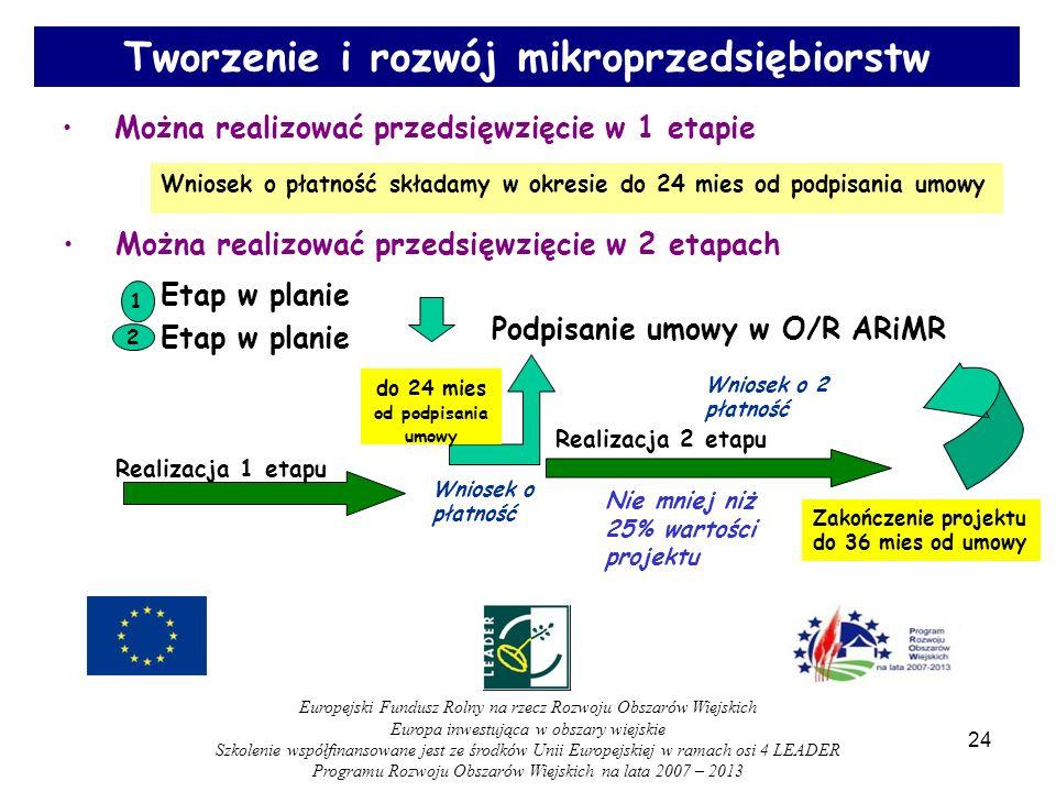 Można realizować przedsięwzięcie w 2 etapach 1 Etap w planie 2 Podpisanie umowy w O/R ARiMR Realizacja 2 etapu Zakończenie projektu do 36 mies od umowy Wniosek o 2 płatność Nie mniej niż 25% wartości projektu Można realizować przedsięwzięcie w 1 etapie Wniosek o płatność składamy w okresie do 24 mies od podpisania umowy Realizacja 1 etapu Wniosek o płatność do 24 mies od podpisania umowy 24 Tworzenie i rozwój mikroprzedsiębiorstw Europejski Fundusz Rolny na rzecz Rozwoju Obszarów Wiejskich Europa inwestująca w obszary wiejskie Szkolenie współfinansowane jest ze środków Unii Europejskiej w ramach osi 4 LEADER Programu Rozwoju Obszarów Wiejskich na lata 2007 – 2013