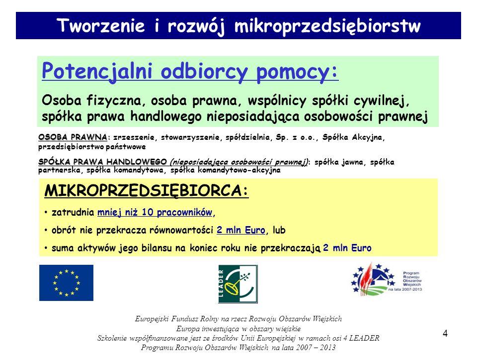 Potencjalni odbiorcy pomocy: Osoba fizyczna, osoba prawna, wspólnicy spółki cywilnej, spółka prawa handlowego nieposiadająca osobowości prawnej Tworzenie i rozwój mikroprzedsiębiorstw MIKROPRZEDSIĘBIORCA: zatrudnia mniej niż 10 pracowników, obrót nie przekracza równowartości 2 mln Euro, lub suma aktywów jego bilansu na koniec roku nie przekraczają 2 mln Euro OSOBA PRAWNA OSOBA PRAWNA: zrzeszenie, stowarzyszenie, spółdzielnia, Sp.