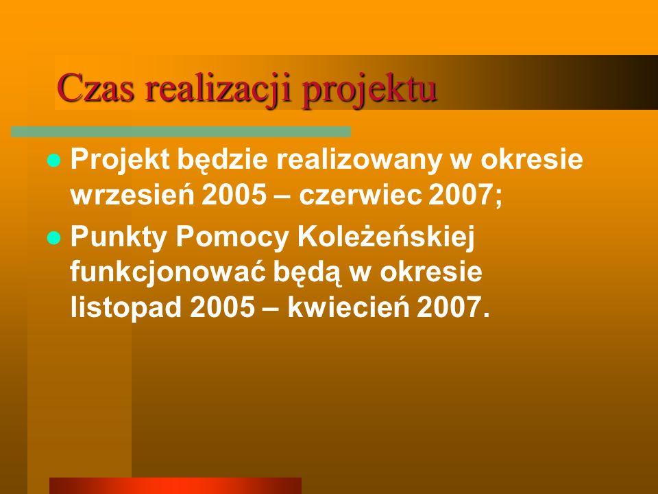 Czas realizacji projektu Projekt będzie realizowany w okresie wrzesień 2005 – czerwiec 2007; Punkty Pomocy Koleżeńskiej funkcjonować będą w okresie listopad 2005 – kwiecień 2007.