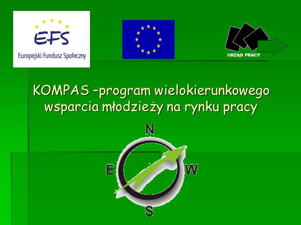 Cel projektu Celem projektu jest udzielenie kompleksowego wsparcia osobom bezrobotnym w wieku 18-25 lat, poprzez realizację następujących typów projektów: Poradnictwo zawodowe oraz pośrednictwo pracy; Poradnictwo zawodowe oraz pośrednictwo pracy; Staże zawodowe w miejscu pracy oraz szkolenia zawodowe i językowe Staże zawodowe w miejscu pracy oraz szkolenia zawodowe i językowe KOMPAS –program wielokierunkowego wsparcia młodzieży na rynku pracy