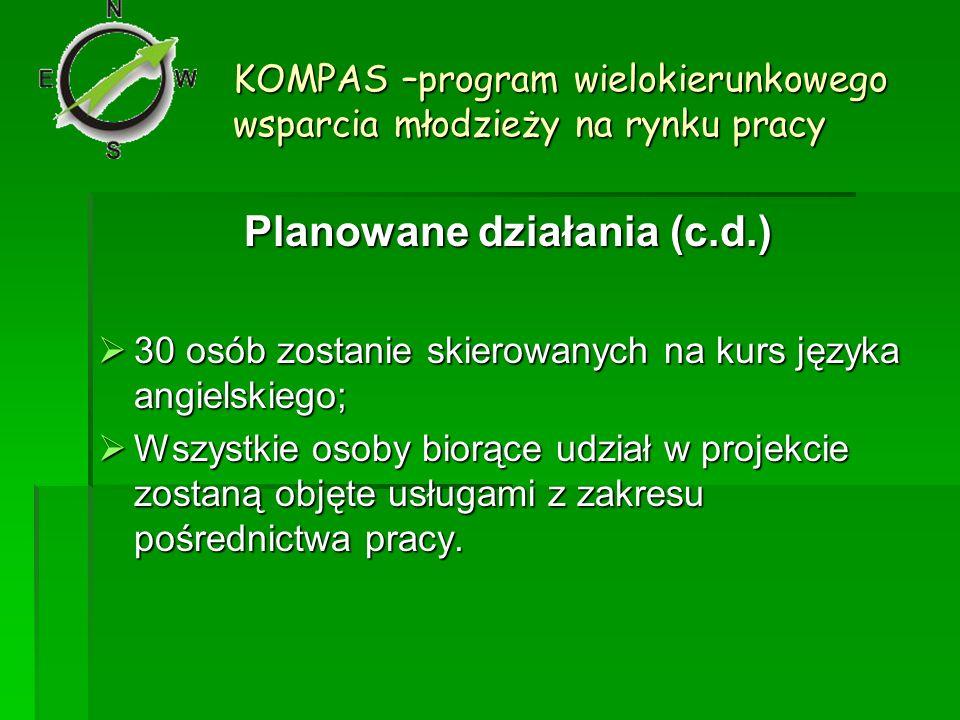 KOMPAS –program wielokierunkowego wsparcia młodzieży na rynku pracy Planowane działania (c.d.) 30 osób zostanie skierowanych na kurs języka angielskie