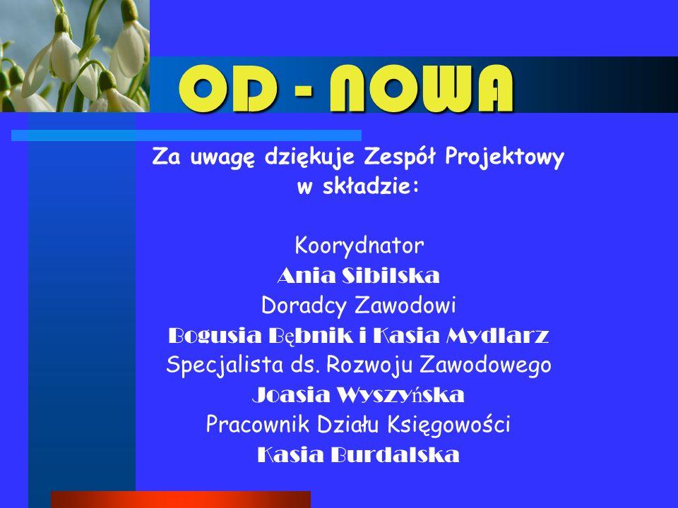 OD - NOWA Za uwagę dziękuje Zespół Projektowy w składzie: Koorydnator Ania Sibilska Doradcy Zawodowi Bogusia B ę bnik i Kasia Mydlarz Specjalista ds.