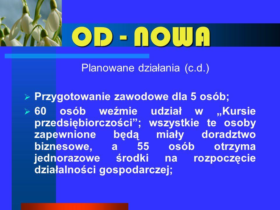 OD - NOWA Planowane działania (c.d.) 15 osób zostanie skierowanych na kurs języka angielskiego – kurs poprzedzony IPD; 15 osób zostanie skierowanych na kurs języka niemieckiego – kurs poprzedzony IPD; 70 osób biorących udział w projekcie zostanie objętych usługami z zakresu pośrednictwa pracy.