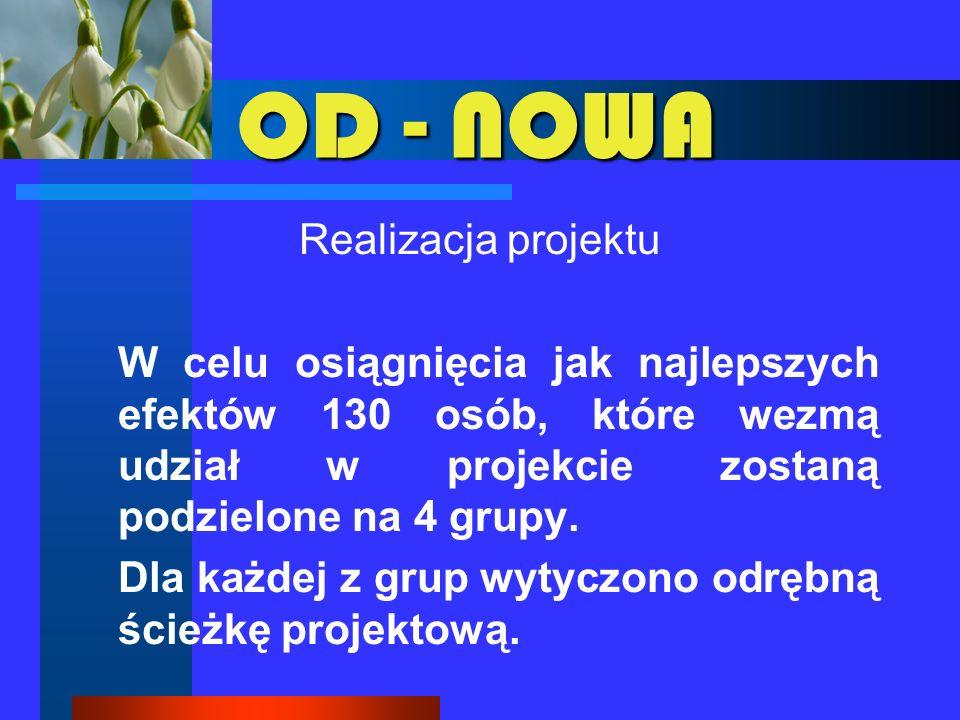 OD - NOWA Realizacja projektu W celu osiągnięcia jak najlepszych efektów 130 osób, które wezmą udział w projekcie zostaną podzielone na 4 grupy.