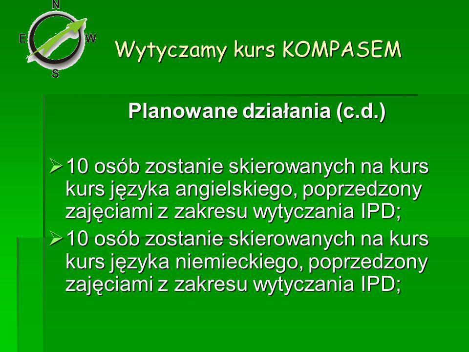 Wytyczamy kurs KOMPASEM Planowane działania (c.d.) 10 osób zostanie skierowanych na kurs kurs języka angielskiego, poprzedzony zajęciami z zakresu wytyczania IPD; 10 osób zostanie skierowanych na kurs kurs języka angielskiego, poprzedzony zajęciami z zakresu wytyczania IPD; 10 osób zostanie skierowanych na kurs kurs języka niemieckiego, poprzedzony zajęciami z zakresu wytyczania IPD; 10 osób zostanie skierowanych na kurs kurs języka niemieckiego, poprzedzony zajęciami z zakresu wytyczania IPD;