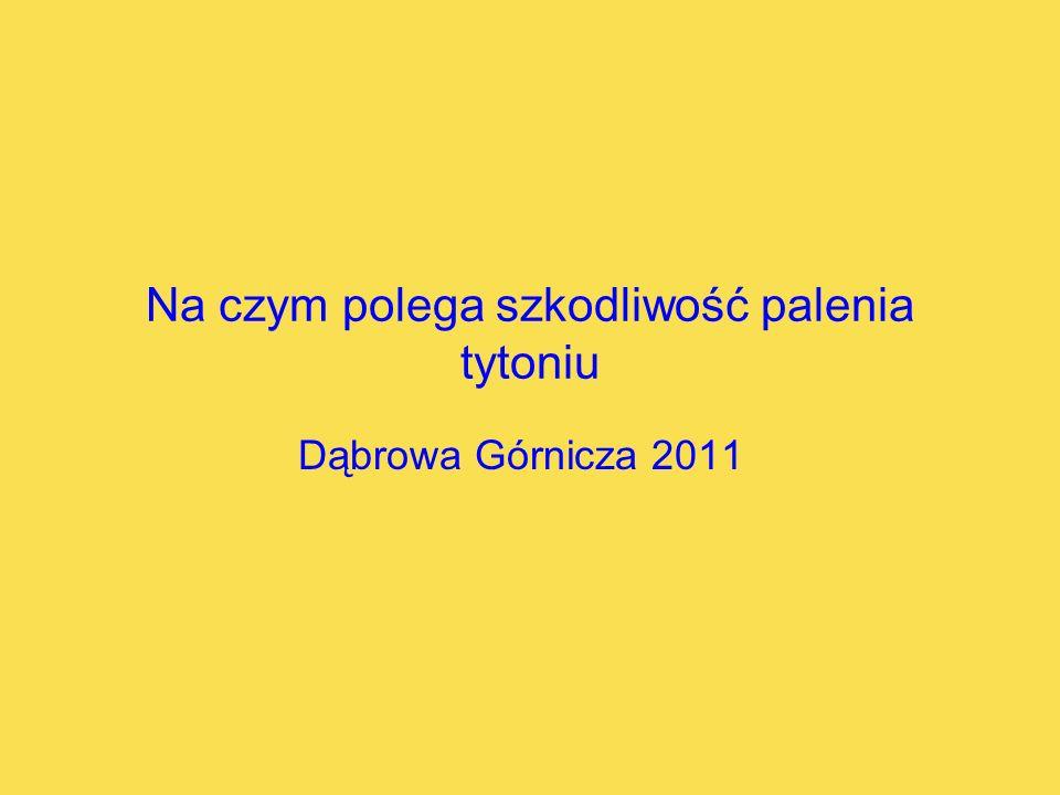 Na czym polega szkodliwość palenia tytoniu Dąbrowa Górnicza 2011