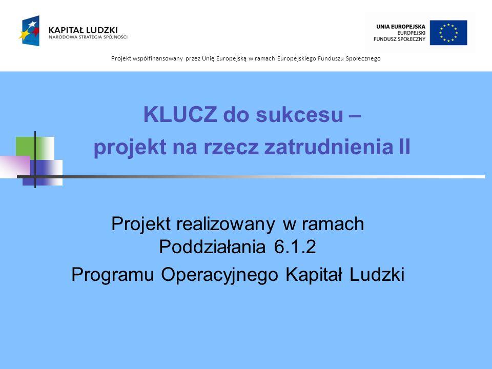 KLUCZ do sukcesu – projekt na rzecz zatrudnienia II Projekt realizowany w ramach Poddziałania 6.1.2 Programu Operacyjnego Kapitał Ludzki Projekt współ