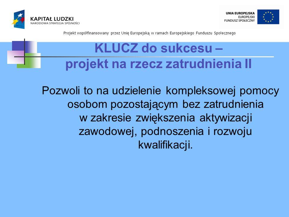 Projekt współfinansowany przez Unię Europejską w ramach Europejskiego Funduszu Społecznego KLUCZ do sukcesu – projekt na rzecz zatrudnienia II Pozwoli
