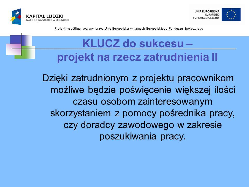 Projekt współfinansowany przez Unię Europejską w ramach Europejskiego Funduszu Społecznego KLUCZ do sukcesu – projekt na rzecz zatrudnienia II Dzięki