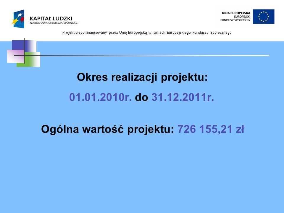 Projekt współfinansowany przez Unię Europejską w ramach Europejskiego Funduszu Społecznego Okres realizacji projektu: 01.01.2010r. do 31.12.2011r. Ogó