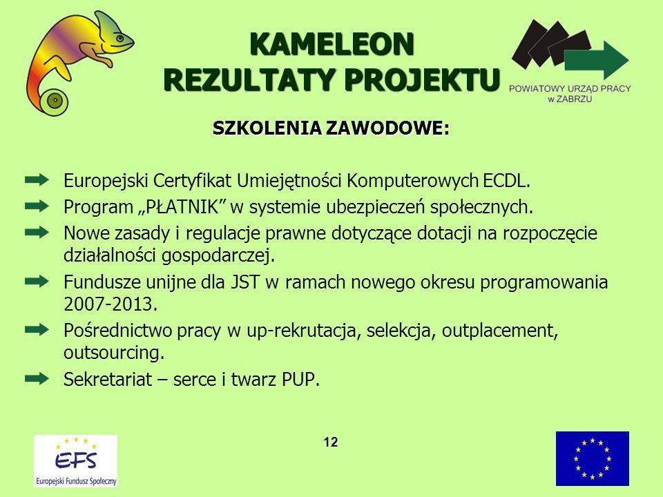12 KAMELEON REZULTATY PROJEKTU Europejski Certyfikat Umiejętności Komputerowych ECDL. Program PŁATNIK w systemie ubezpieczeń społecznych. Nowe zasady
