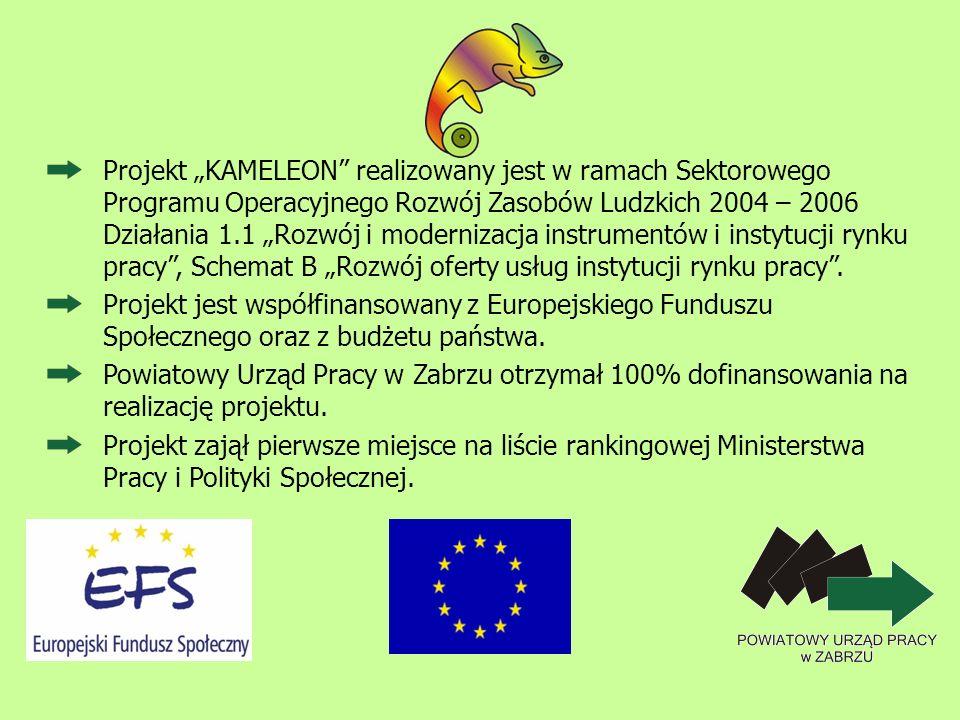 Projekt KAMELEON realizowany jest w ramach Sektorowego Programu Operacyjnego Rozwój Zasobów Ludzkich 2004 – 2006 Działania 1.1 Rozwój i modernizacja i