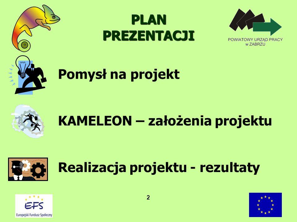 2 PLAN PREZENTACJI Pomysł na projekt KAMELEON – założenia projektu Realizacja projektu - rezultaty