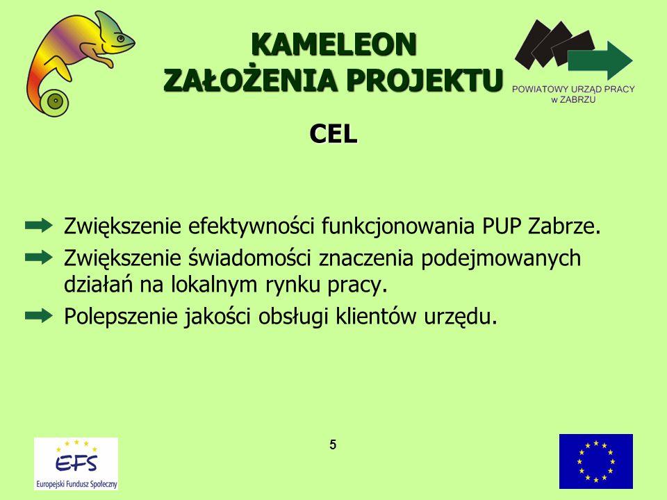 Projekt KAMELEON realizowany jest w ramach Sektorowego Programu Operacyjnego Rozwój Zasobów Ludzkich 2004 – 2006 Działania 1.1 Rozwój i modernizacja instrumentów i instytucji rynku pracy, Schemat B Rozwój oferty usług instytucji rynku pracy.