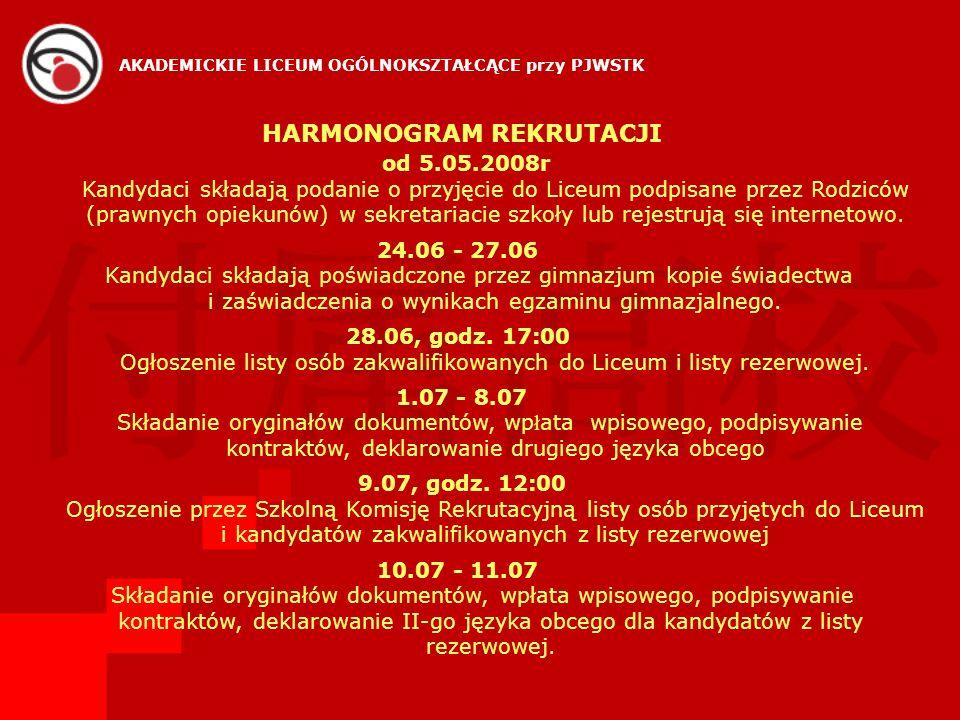 HARMONOGRAM REKRUTACJI od 5.05.2008r Kandydaci składają podanie o przyjęcie do Liceum podpisane przez Rodziców (prawnych opiekunów) w sekretariacie sz