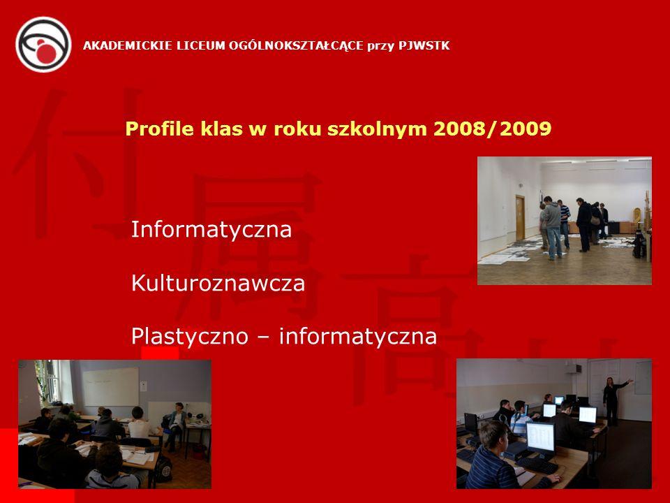 Profile klas w roku szkolnym 2008/2009 Informatyczna Kulturoznawcza Plastyczno – informatyczna