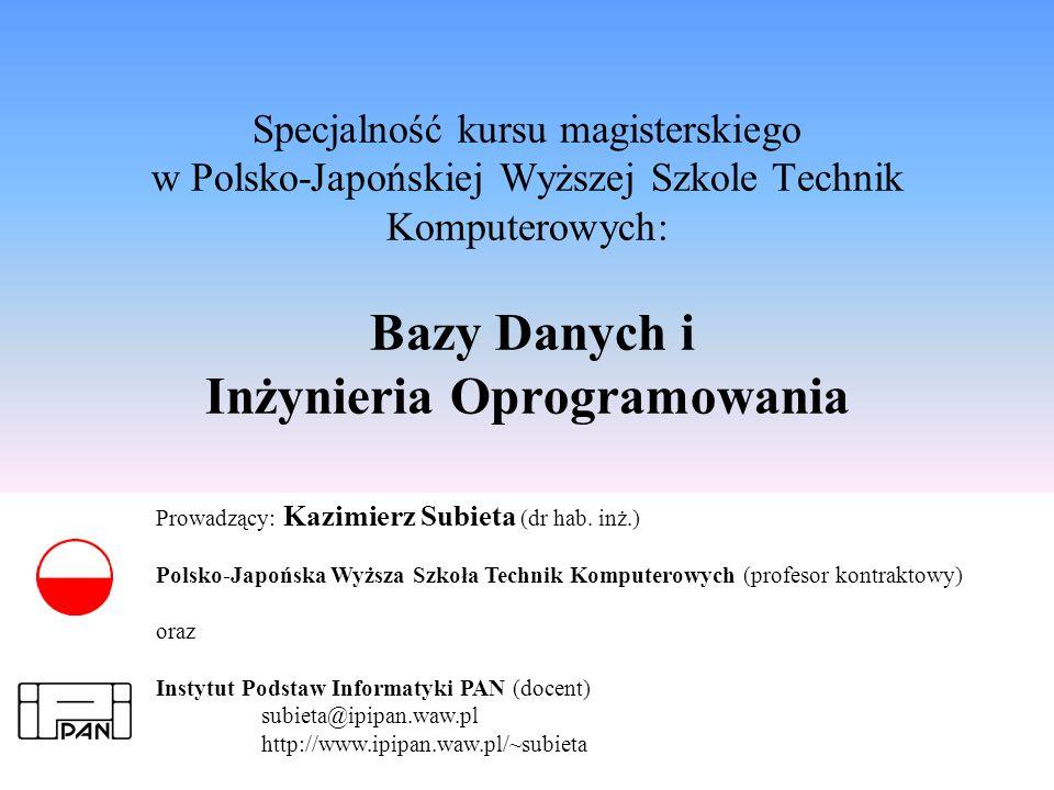 K.Subieta.Bazy Danych i Inżynieria Oprogramowania, slajd 2 Wrzesień.