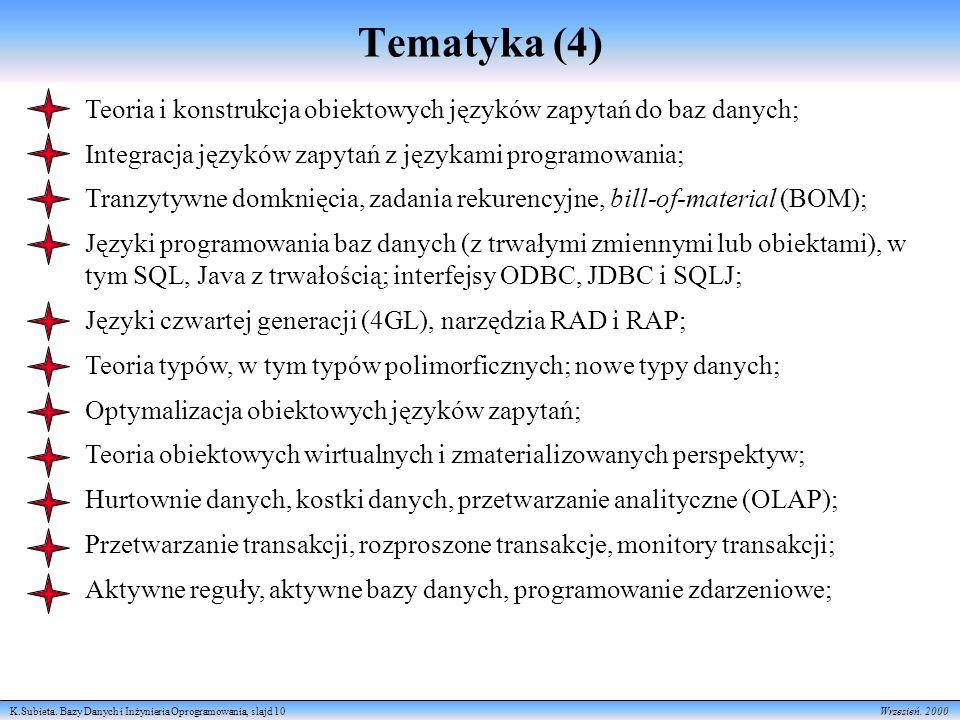 K.Subieta. Bazy Danych i Inżynieria Oprogramowania, slajd 10 Wrzesień. 2000 Tematyka (4) Teoria i konstrukcja obiektowych języków zapytań do baz danyc