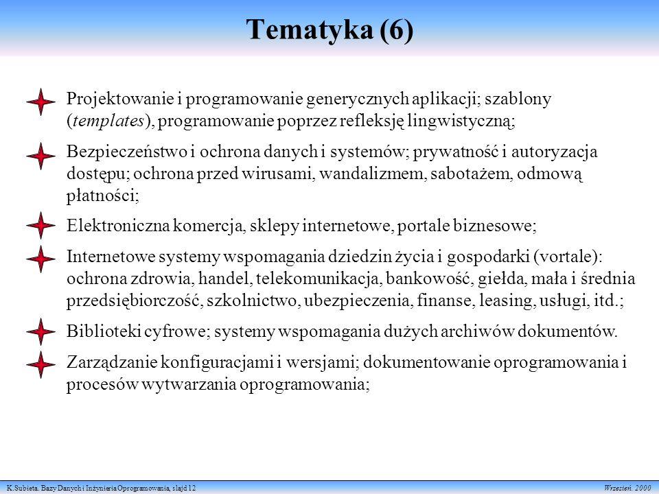 K.Subieta. Bazy Danych i Inżynieria Oprogramowania, slajd 12 Wrzesień. 2000 Tematyka (6) Projektowanie i programowanie generycznych aplikacji; szablon