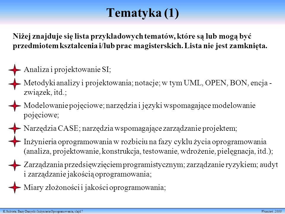 K.Subieta. Bazy Danych i Inżynieria Oprogramowania, slajd 7 Wrzesień. 2000 Tematyka (1) Niżej znajduje się lista przykładowych tematów, które są lub m