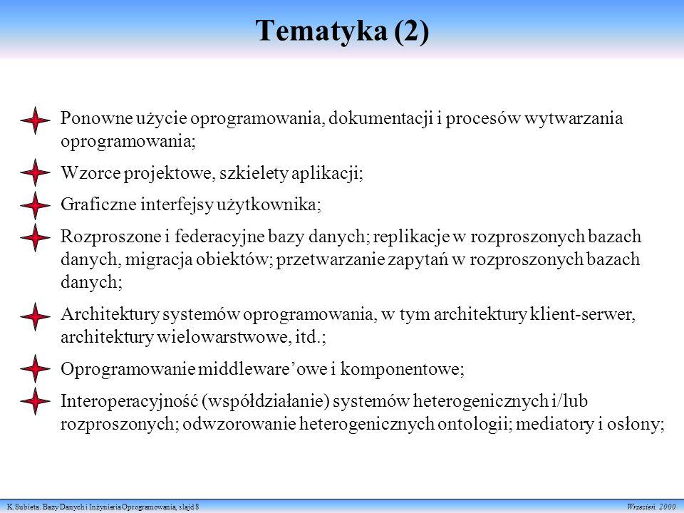 K.Subieta. Bazy Danych i Inżynieria Oprogramowania, slajd 8 Wrzesień. 2000 Tematyka (2) Ponowne użycie oprogramowania, dokumentacji i procesów wytwarz