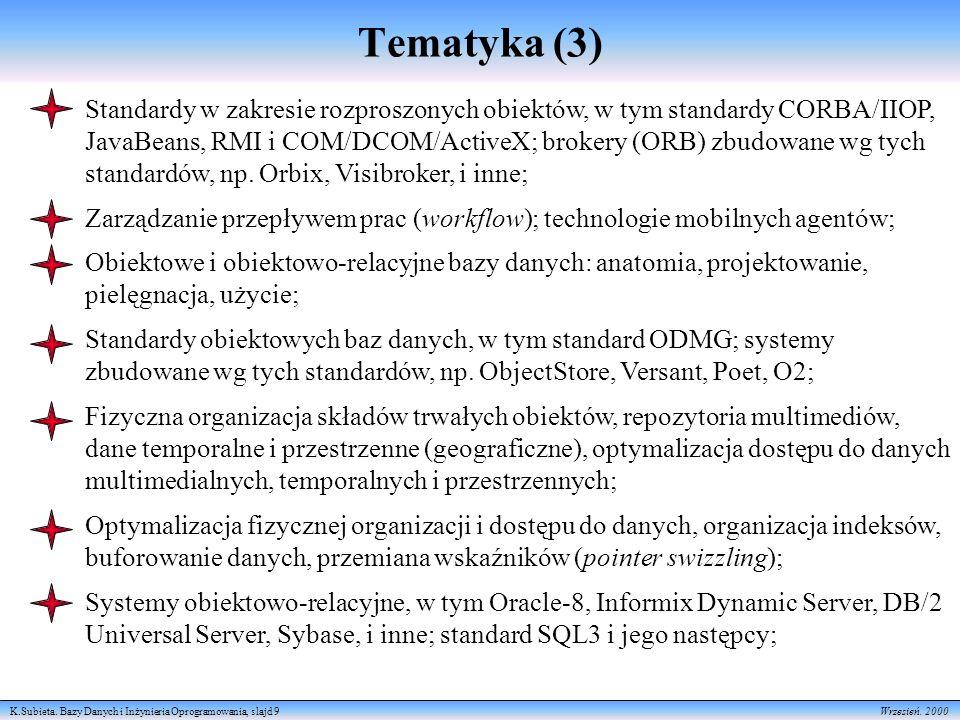 K.Subieta. Bazy Danych i Inżynieria Oprogramowania, slajd 9 Wrzesień. 2000 Tematyka (3) Standardy w zakresie rozproszonych obiektów, w tym standardy C