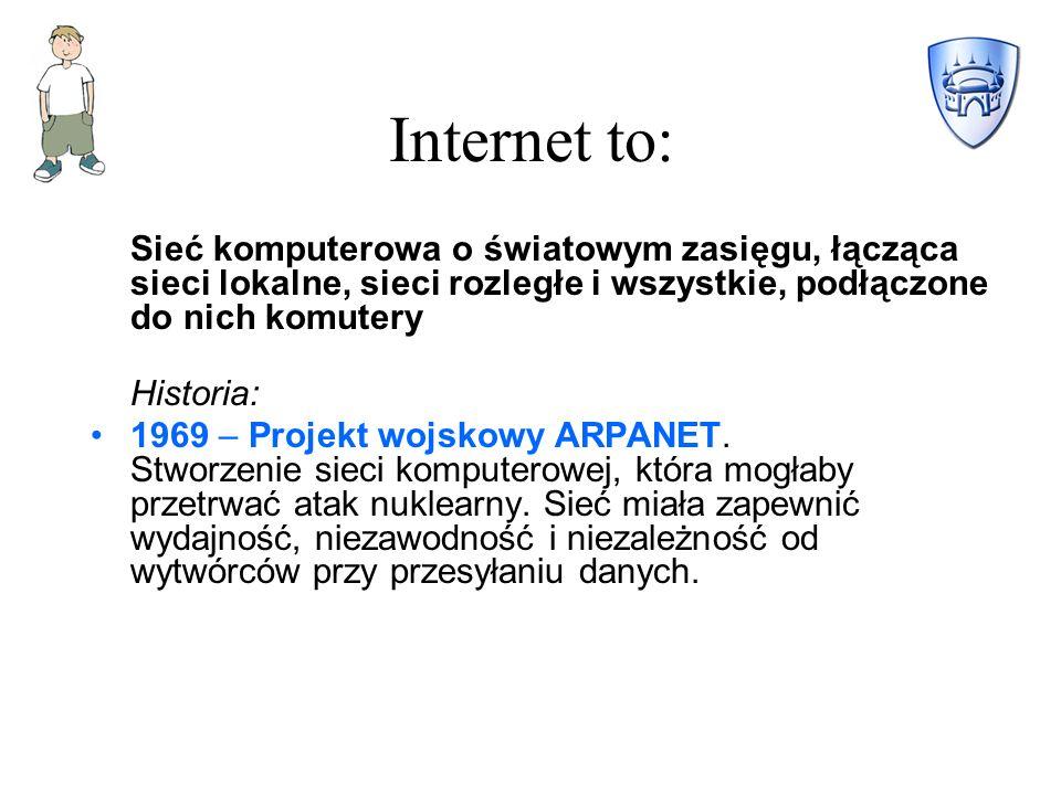 Internet to: Sieć komputerowa o światowym zasięgu, łącząca sieci lokalne, sieci rozległe i wszystkie, podłączone do nich komutery Historia: 1969 – Projekt wojskowy ARPANET.