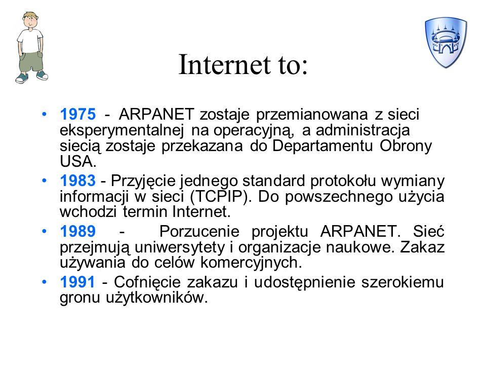 Internet to: 1975 - ARPANET zostaje przemianowana z sieci eksperymentalnej na operacyjną, a administracja siecią zostaje przekazana do Departamentu Obrony USA.