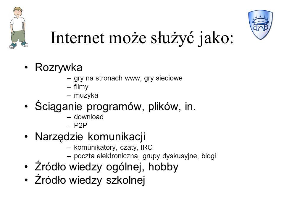 Internet może służyć jako: Rozrywka –gry na stronach www, gry sieciowe –filmy –muzyka Ściąganie programów, plików, in.