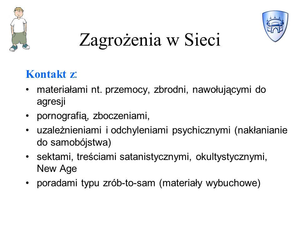 Zagrożenia w Sieci Kontakt z : materiałami nt.