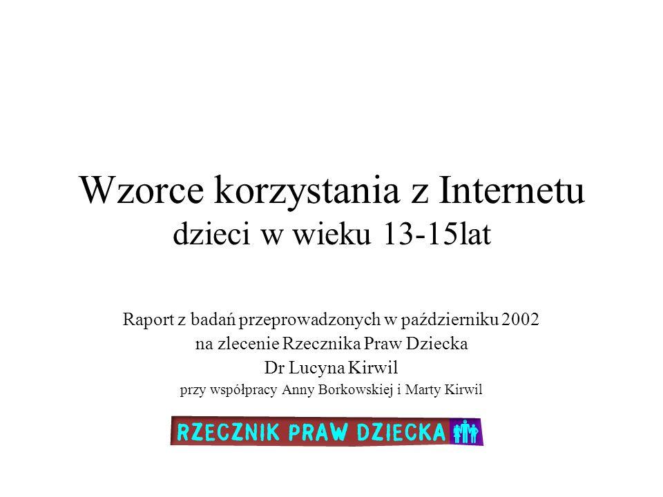Wzorce korzystania z Internetu dzieci w wieku 13-15lat Raport z badań przeprowadzonych w październiku 2002 na zlecenie Rzecznika Praw Dziecka Dr Lucyn