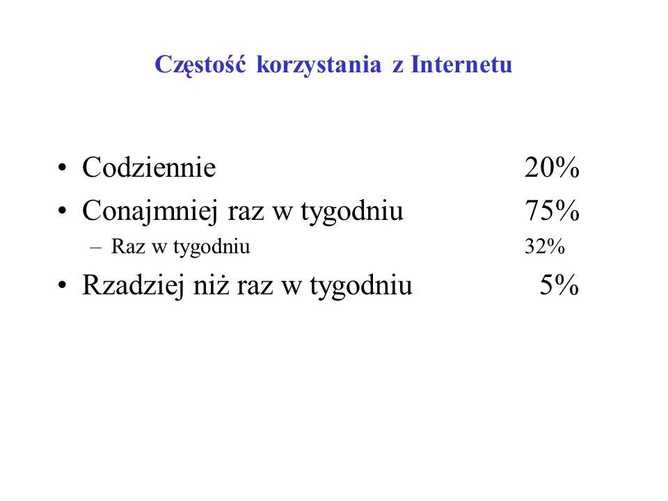 Pory korzystania z Internetu (%)