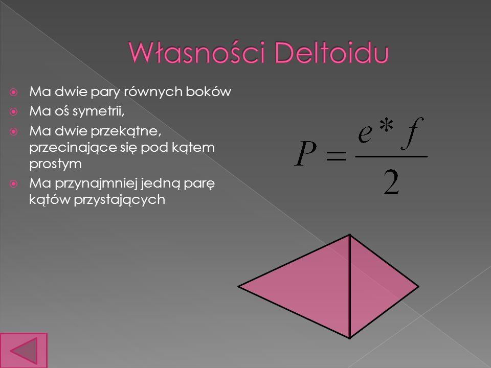 Ma dwie pary równych boków Ma oś symetrii, Ma dwie przekątne, przecinające się pod kątem prostym Ma przynajmniej jedną parę kątów przystających