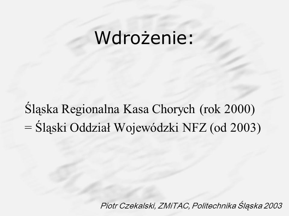 Piotr Czekalski, ZMiTAC, Politechnika Śląska 2003 Wdrożenie: Śląska Regionalna Kasa Chorych (rok 2000) = Śląski Oddział Wojewódzki NFZ (od 2003)